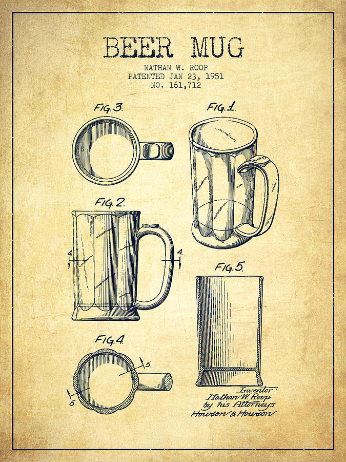 Beer Mug Patent Drawing From 1951 Vintage Drawing By