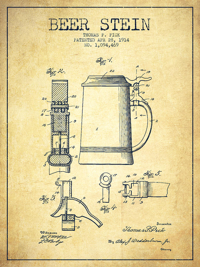 Beer Stein Patent From 1914 -vintage Drawing