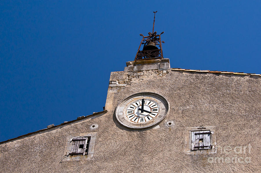 Bonnieux France Window Windows Clock Clocks Bell Bells Building Buildings Shutter Shutters Structure Structures Cityscape Cityscapes Provence Architecture Photograph - Before Digital by Bob Phillips