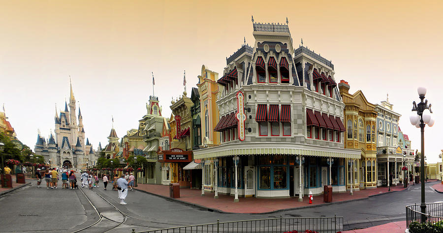 Before The Gates Open Early Morning Magic Kingdom With Castle. Photograph  - Before The Gates Open Early Morning Magic Kingdom With Castle. Fine Art Print
