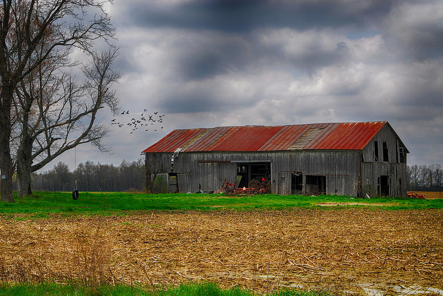 Stormy Skies. Storm Clouds.  Storms. Barn. Farm. Old Barn. Tractors. Trees. Tree Tire Swing. Fields. Corn Field. Grass. Forest. Woods. Wildlife. Birds. Ducks. Mallards. Nature. Photography. Prints. Canvas. Poster. Greeting Cards. Photograph - Before The Storm by Mary Timman