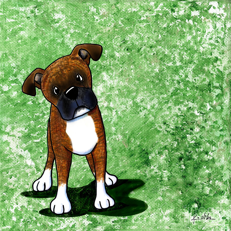 Befuddled Brindle Boxer Painting  - Befuddled Brindle Boxer Fine Art Print