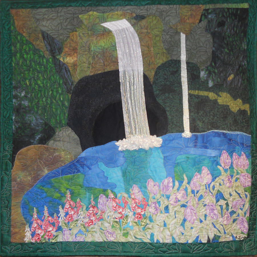 Behind The Waterfall Tapestry - Textile