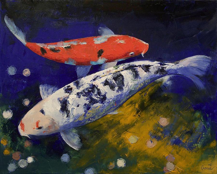 Bekko koi fish painting by michael creese for American koi fish