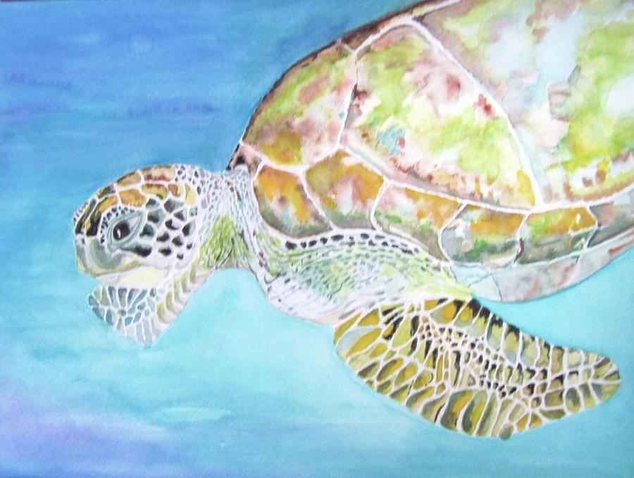 Bellas Lone Turtle Painting  - Bellas Lone Turtle Fine Art Print
