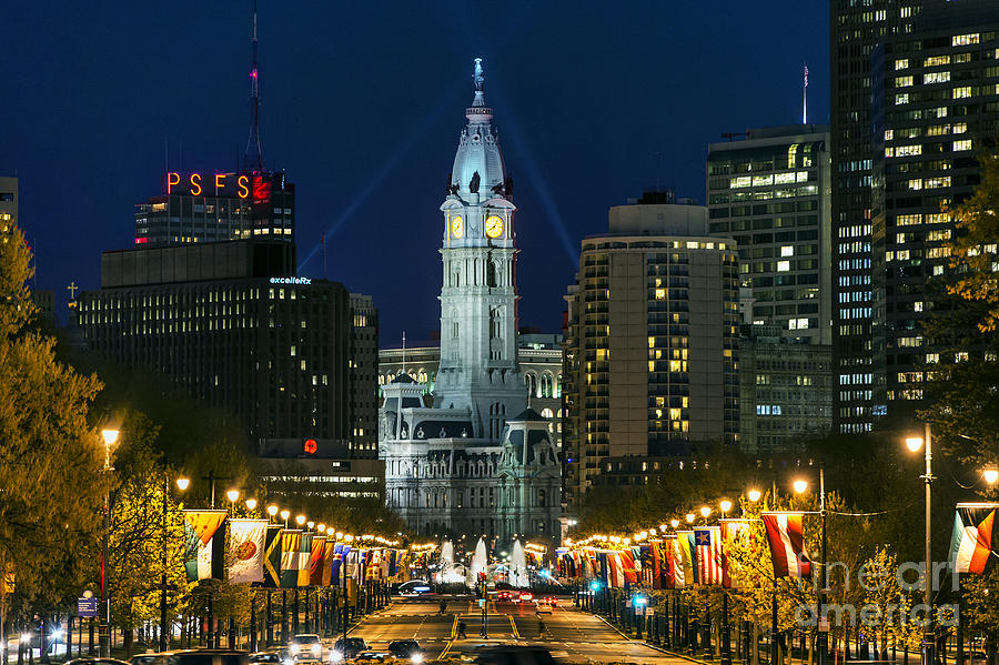 Ben Franklin Parkway And City Hall Photograph  - Ben Franklin Parkway And City Hall Fine Art Print