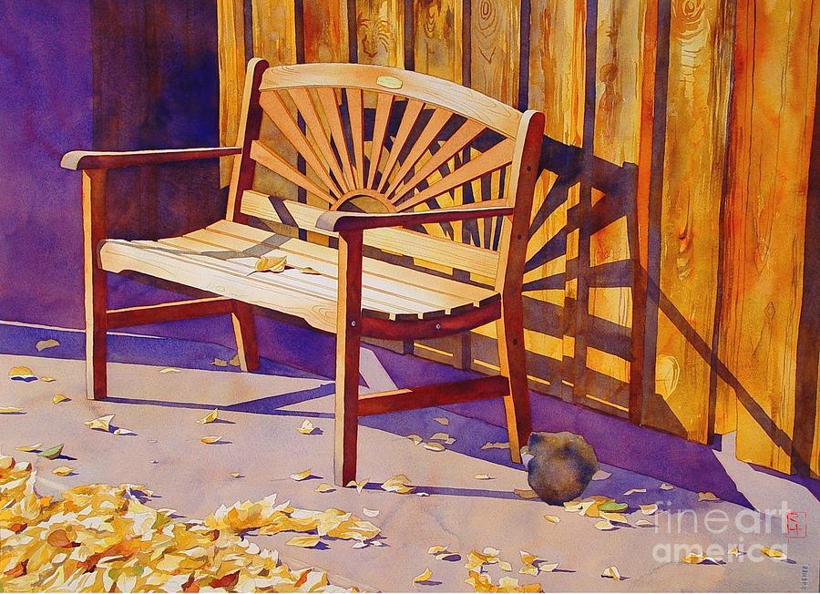 Watercolor Painting - Bench At Sharlot Hall by Robert Hooper