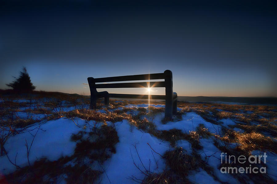 Bench On Top Of Mountain At Sunset Photograph