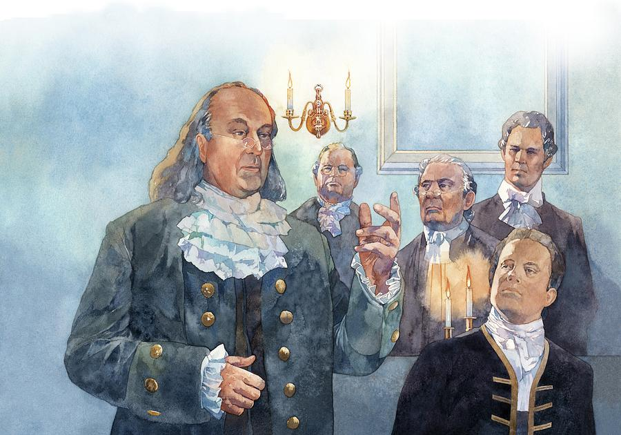 Benjamin Franklin At Albany Congress Painting  - Benjamin Franklin At Albany Congress Fine Art Print
