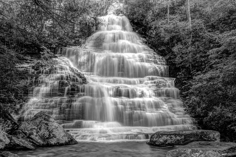 Appalachia Photograph - Benton Falls In Black And White by Debra and Dave Vanderlaan