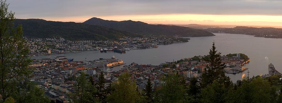Bergen Sunset Panorama Photograph  - Bergen Sunset Panorama Fine Art Print