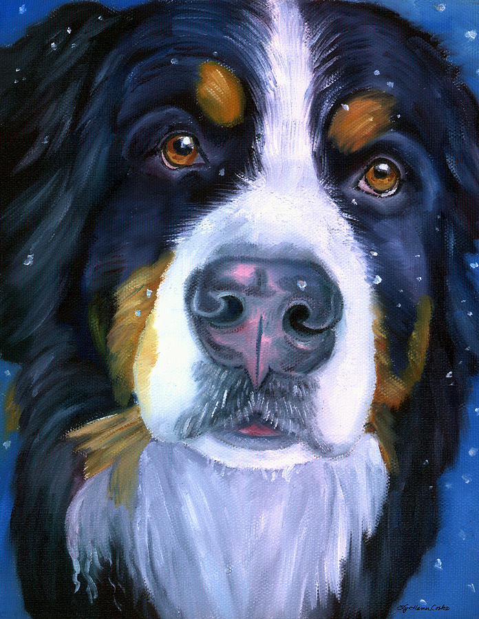 Bernese Mountain Dog In Snowfall Painting