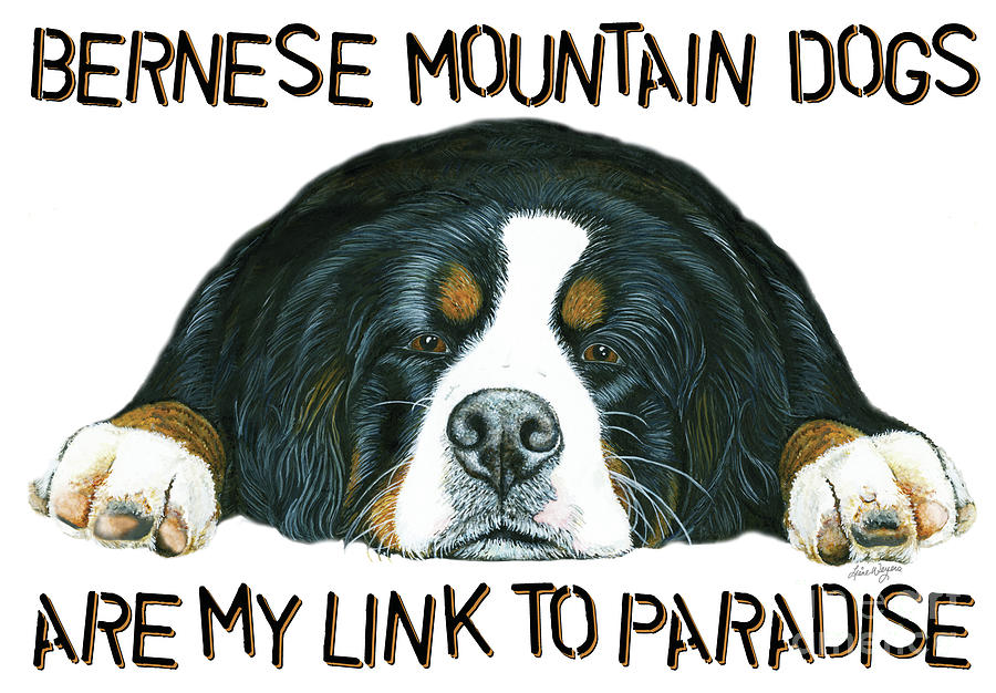 Bernese Mountain Dog Paradise Painting  - Bernese Mountain Dog Paradise Fine Art Print