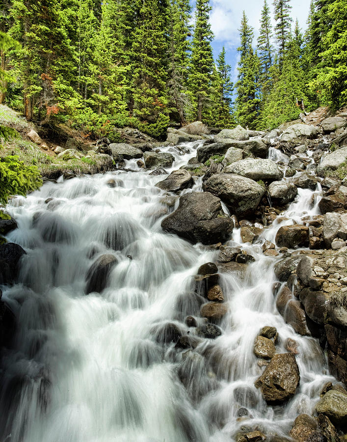 Waterfall; Mountain Stream Photograph - Berthoud Falls by Jim Garrison