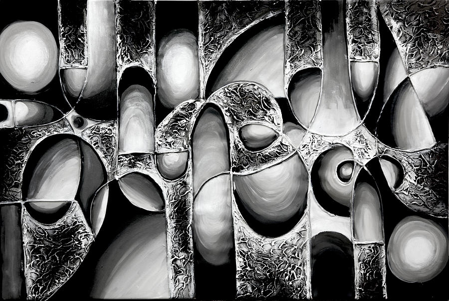Best Art Choice Award Original Abstract Oil Painting Modern White Black Contemporary Home Gallery Painting