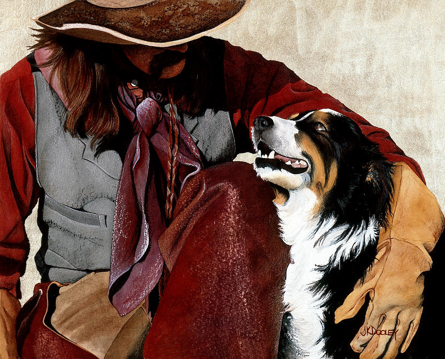Cowboy Painting - Best Friends by JK Dooley