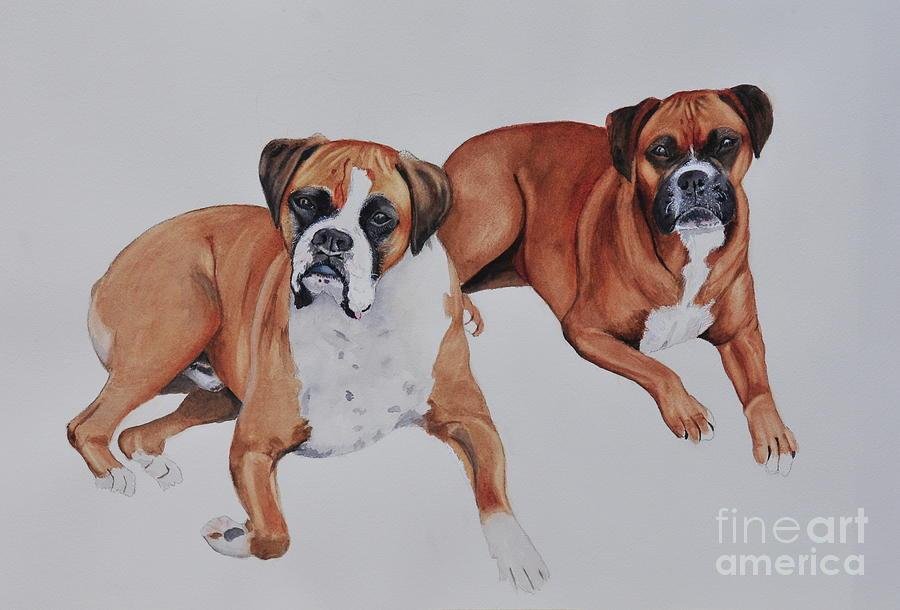 Boxers Painting - Best Friends by John W Walker