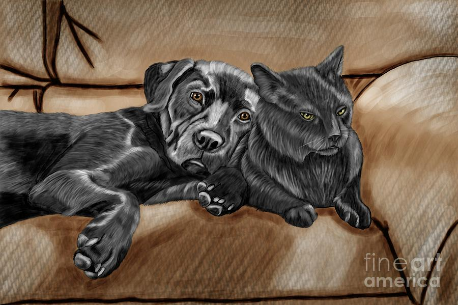 Cat Painting - Best Friends by Karen Sheltrown