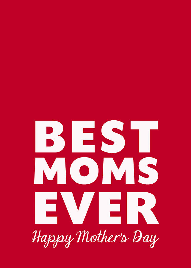 Best Moms Card- Red- Two Moms Mothers Day Card Mixed Media