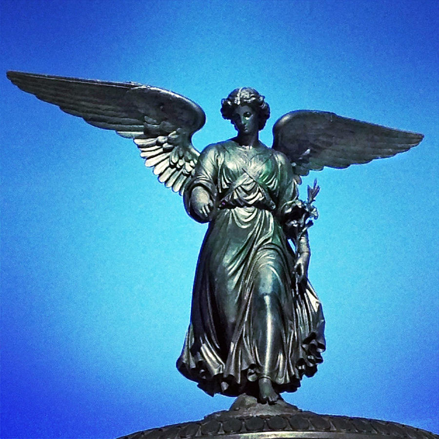 Bethesda Fountain Angel Central Park  New York Ny Blue Black Sky Wings Angel Statue Photograph - Bethesda Fountain Angel Central Park Ny by Kathleen Anderle