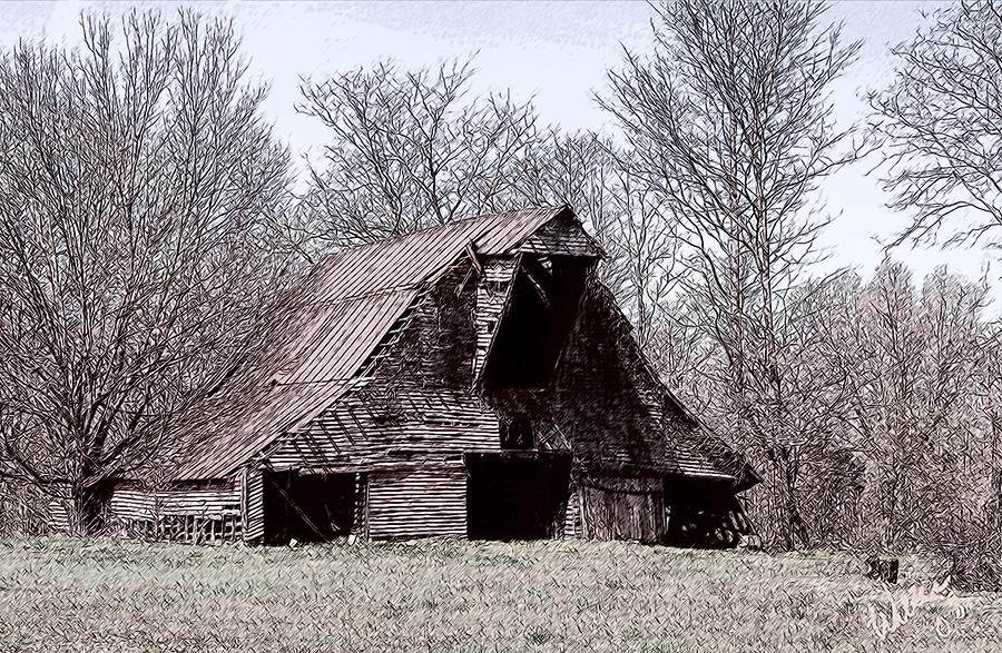 Barn Drawing - Better Days by Bonnie Willis