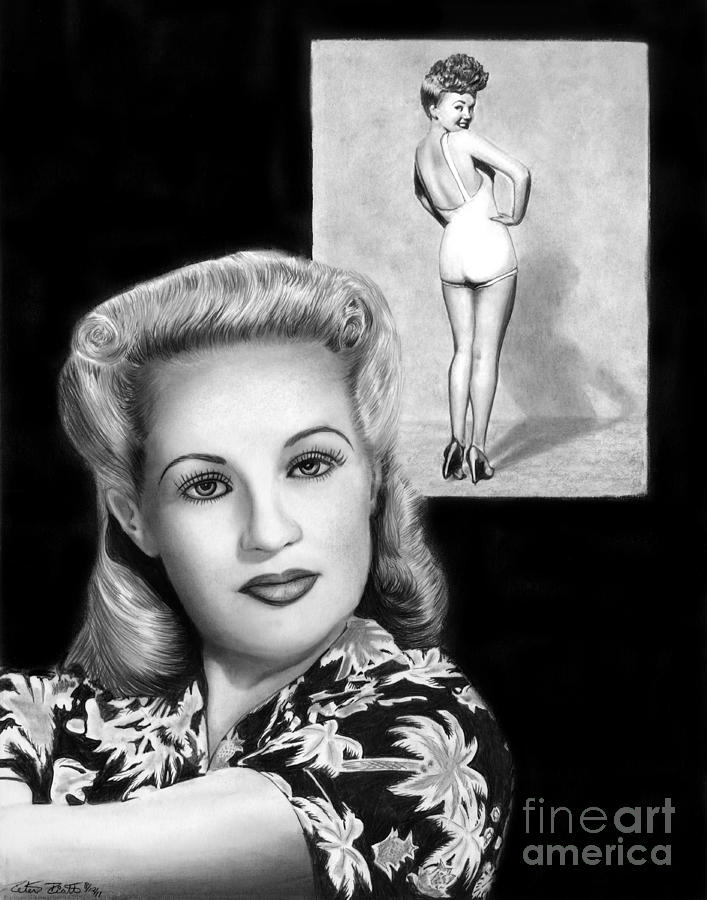 Betty Grable Drawing - Betty Grable by Peter Piatt
