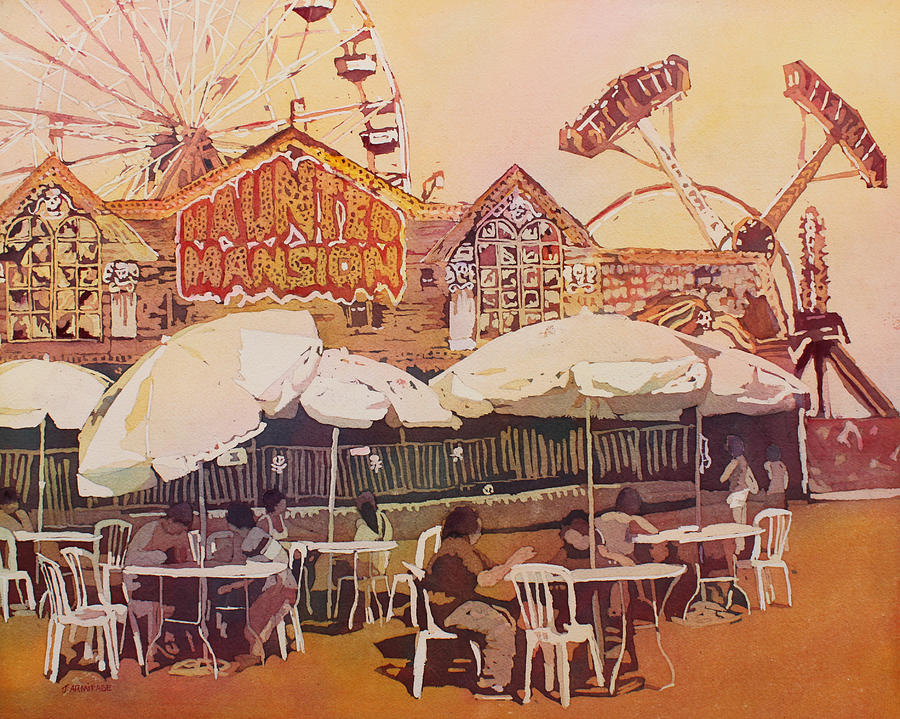Amusement Park Painting - Between Amusements by Jenny Armitage