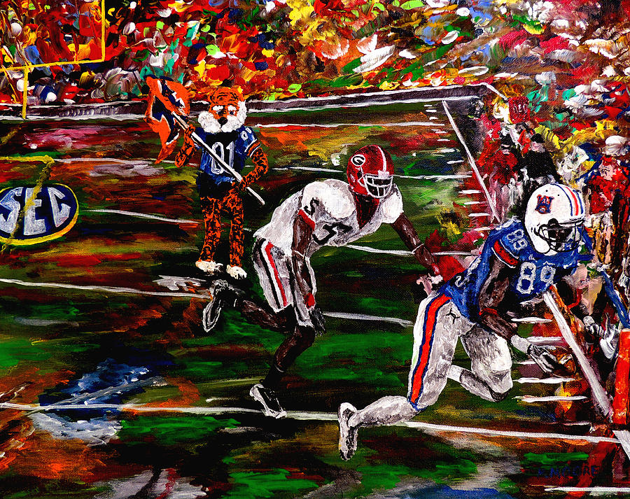 Beware Of The Tiger - Auburn Vs Georgia Football Painting  - Beware Of The Tiger - Auburn Vs Georgia Football Fine Art Print