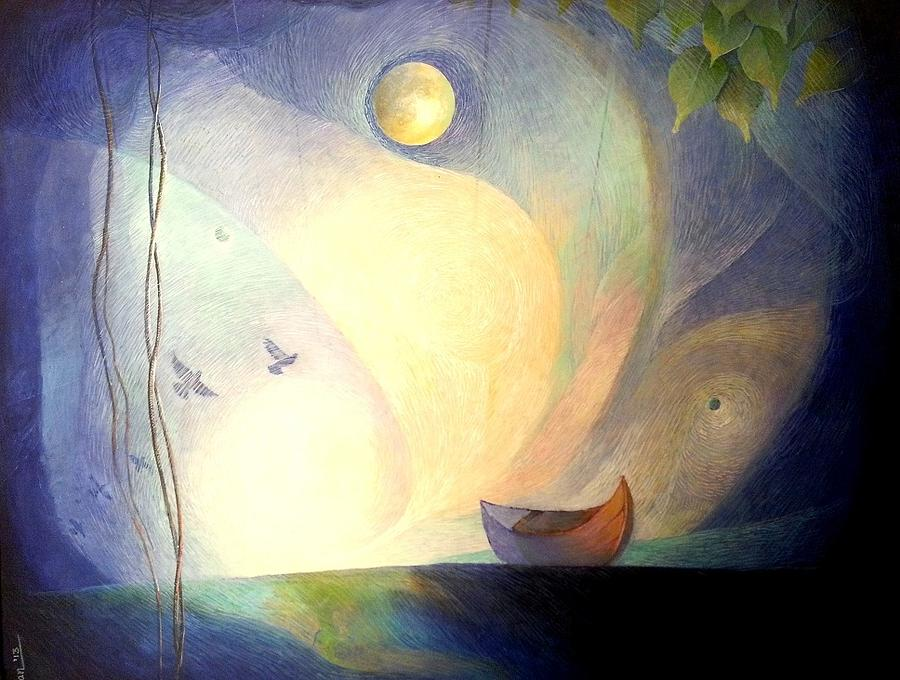 Landscape Painting - Beyond The Edge Of World by Hiran Sarkar