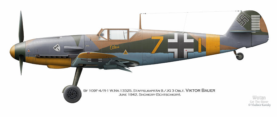 Bf 109f-4/r-1 W.nr.13325. Staffelkapitan 9./jg 3 Oblt. Viktor Bauer. June 1942. Shchigry Digital Art