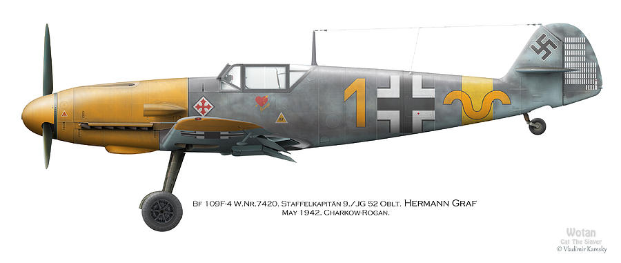 Bf 109f-4 W.nr.7420. Staffelkapitan 9./jg 52 Oblt. Hermann Graf. May 1942. Charkow-rogan. Digital Art