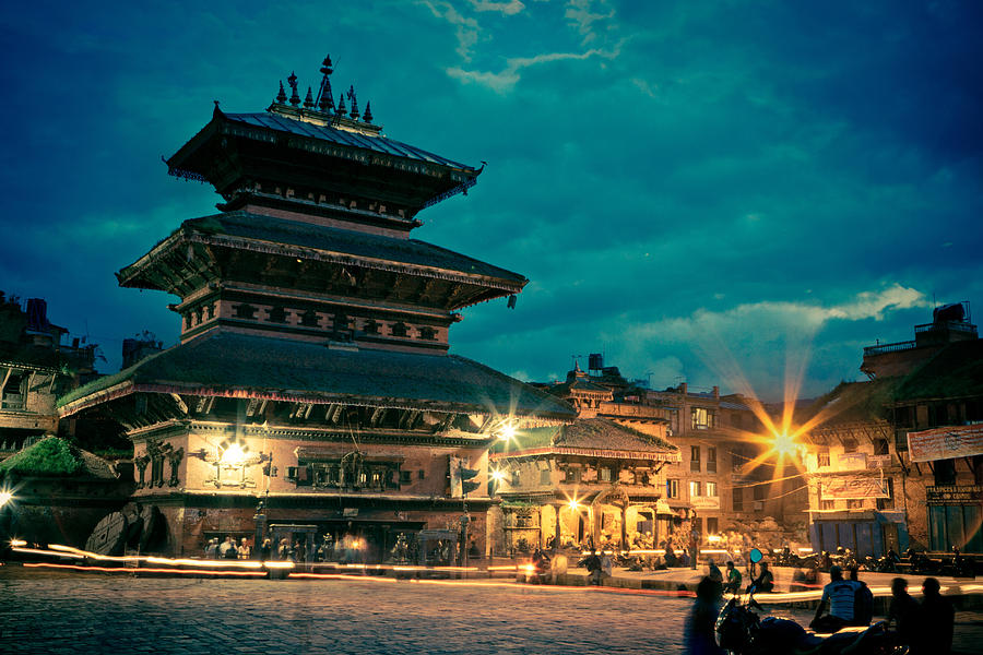 Bhaktapur At Night In Old Town Photograph