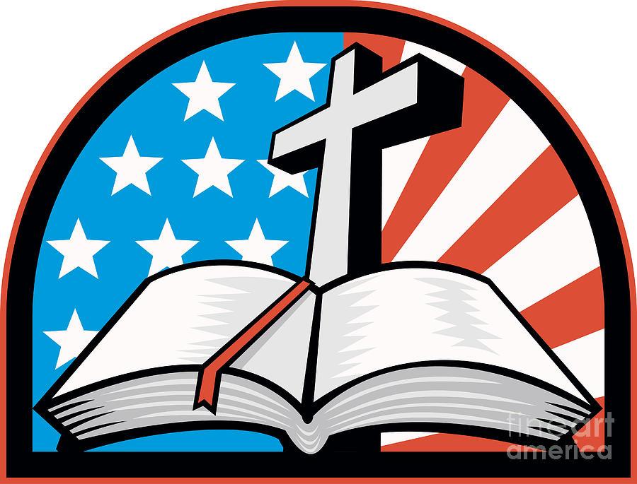 Bible With Cross American Stars Stripes Digital Art