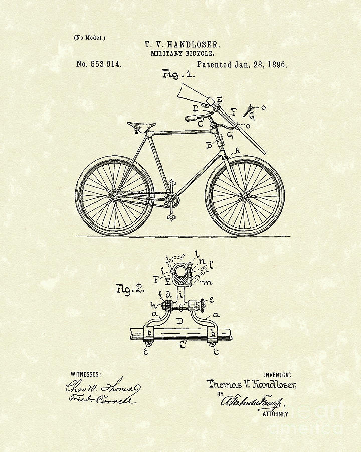 Handloser Drawing - Bicycle 1896 Patent Art by Prior Art Design