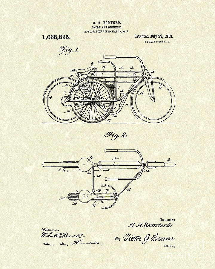 Bicycle Attachment 1913 Patent Art Drawing  - Bicycle Attachment 1913 Patent Art Fine Art Print