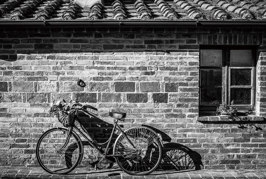 Bicycle In Black And White Photograph