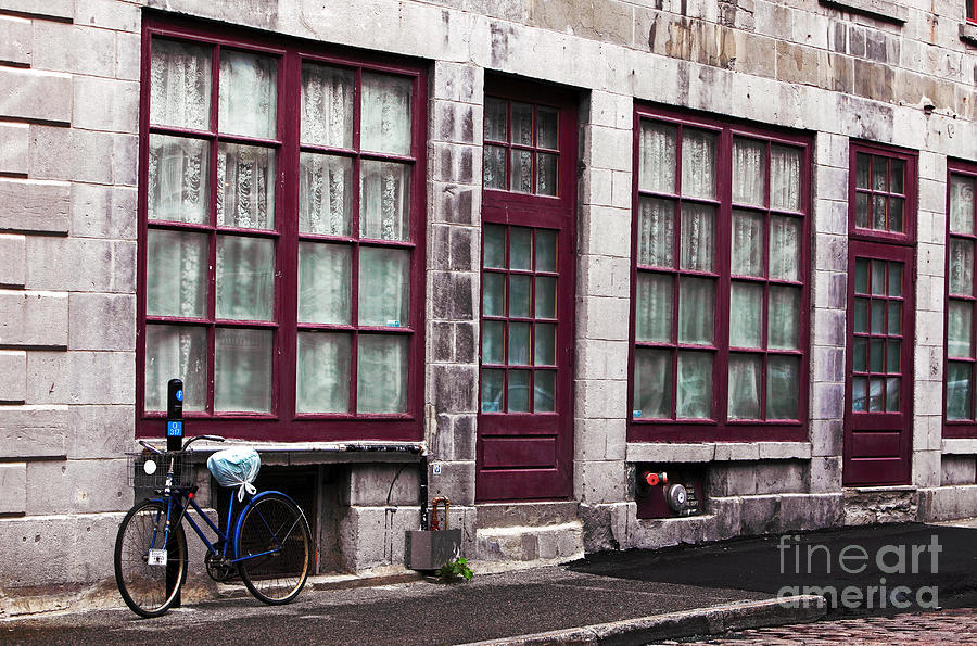 Bicycle In Old Montreal Photograph  - Bicycle In Old Montreal Fine Art Print
