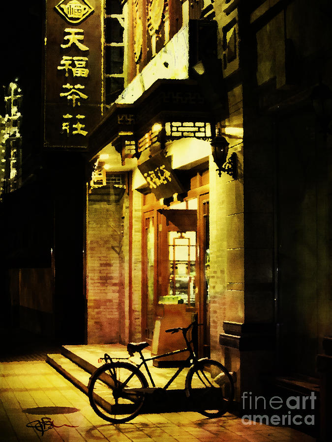 Asia Painting - Bicycle On The Streets Of Beijing At Night by Jani Bryson