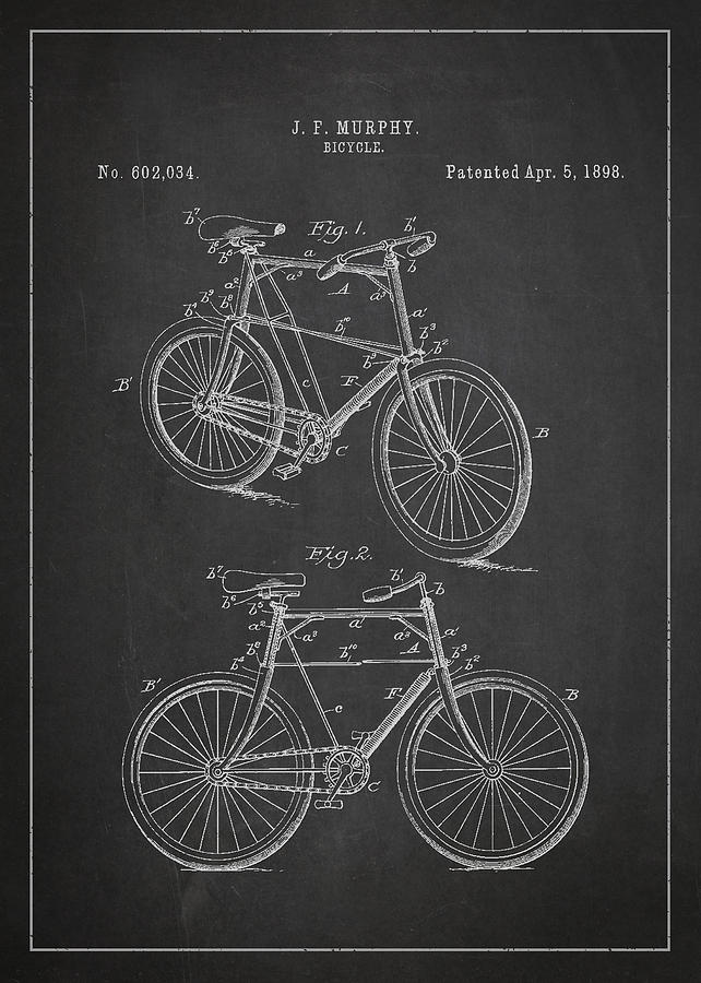 Bicycle Patent Drawing - Bicycle Patent by Aged Pixel