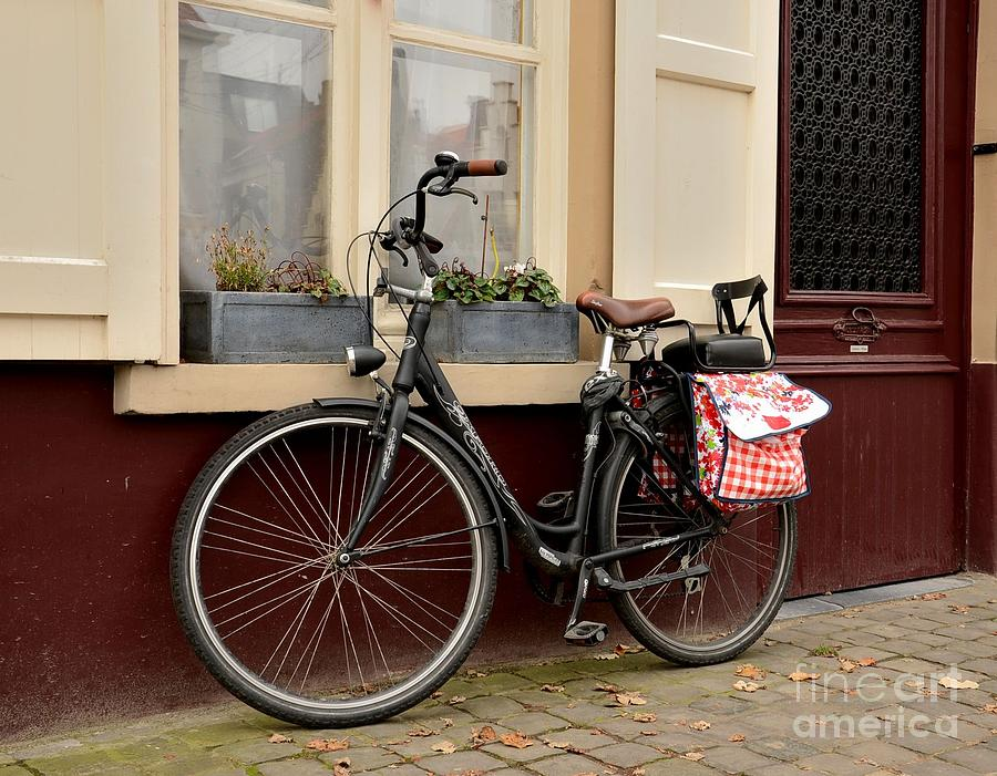 Bicycle With Baby Seat At Doorway Photograph  - Bicycle With Baby Seat At Doorway Fine Art Print