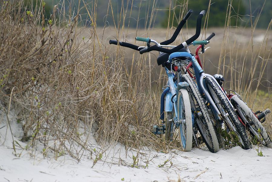 Bicycles Along The Dunes Photograph