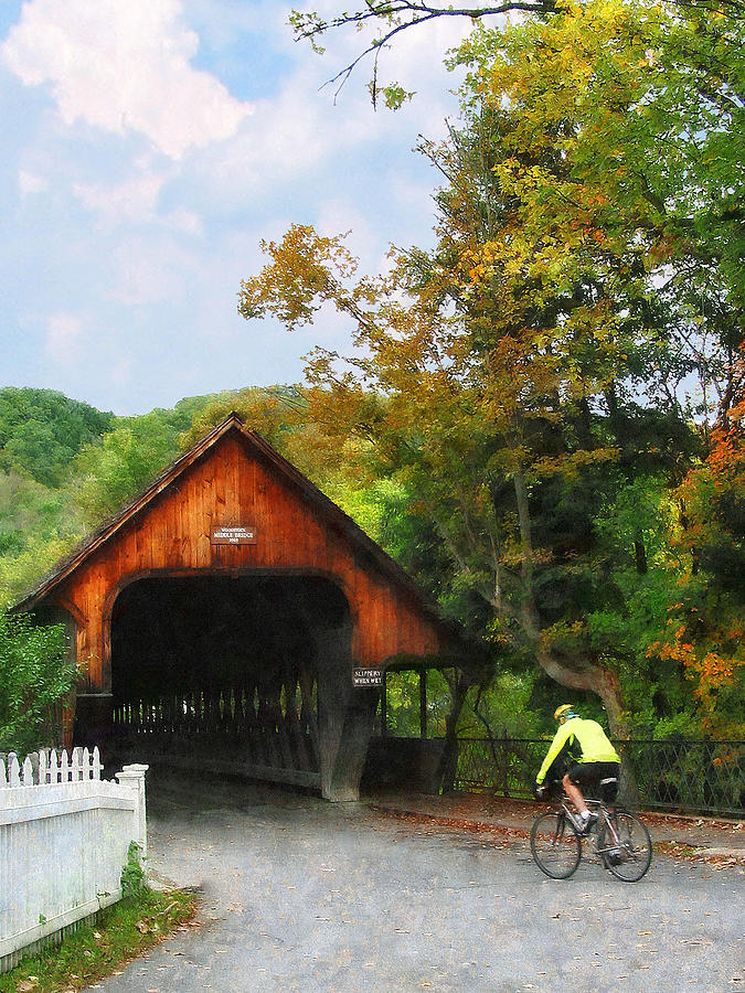 Bicyclist At Middle Bridge Woodstock Vt Photograph  - Bicyclist At Middle Bridge Woodstock Vt Fine Art Print