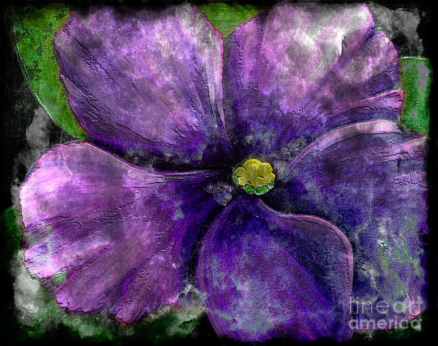 Big African Violet - Purple Flower - Steel Engraving Painting  - Big African Violet - Purple Flower - Steel Engraving Fine Art Print