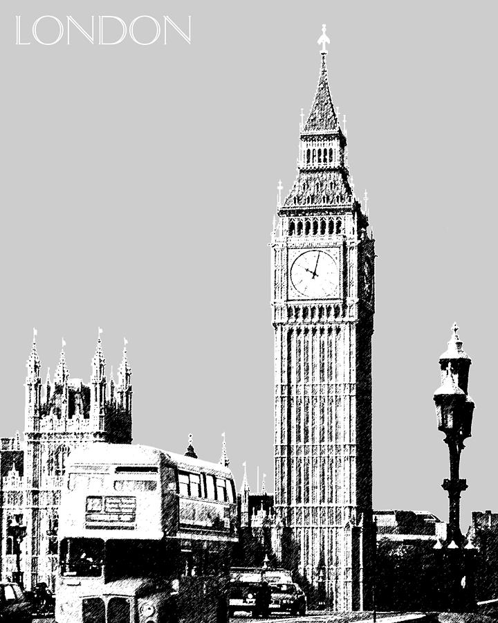 Big Ben London Skyline  Digital Art  - Big Ben London Skyline  Fine Art Print