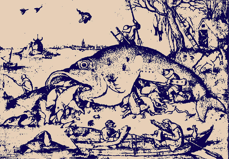 Big Fish Eat Little Fish Drawing  - Big Fish Eat Little Fish Fine Art Print