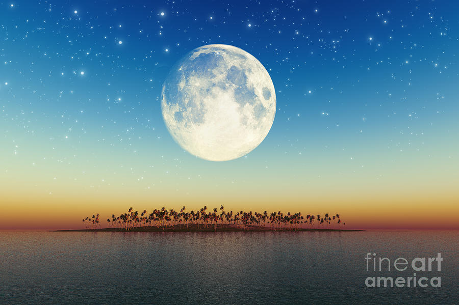Big Full Moon Behind Island Digital Art