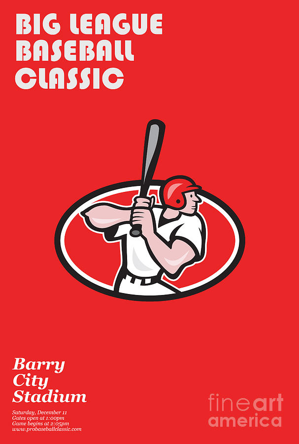 Big League Baseball Classic Poster  Digital Art  - Big League Baseball Classic Poster  Fine Art Print