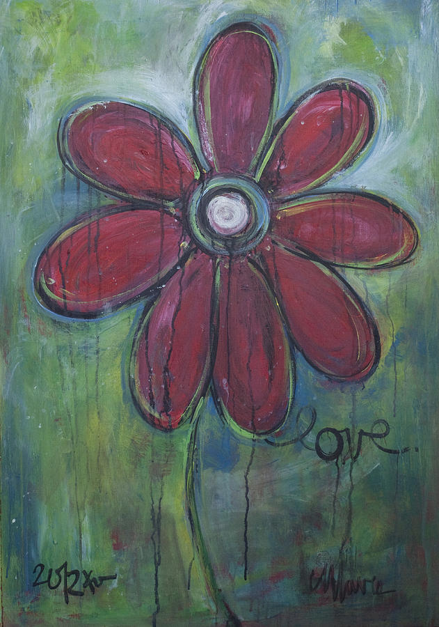 Daisey Painting - Big Love Daisey by Laurie Maves ART