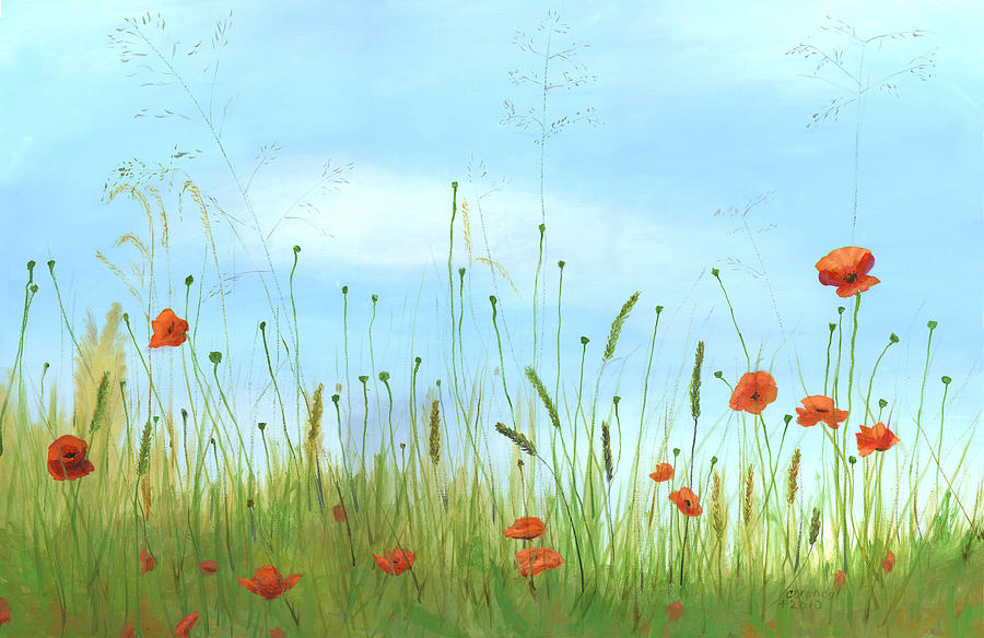 Big Orange Poppies Painting  - Big Orange Poppies Fine Art Print