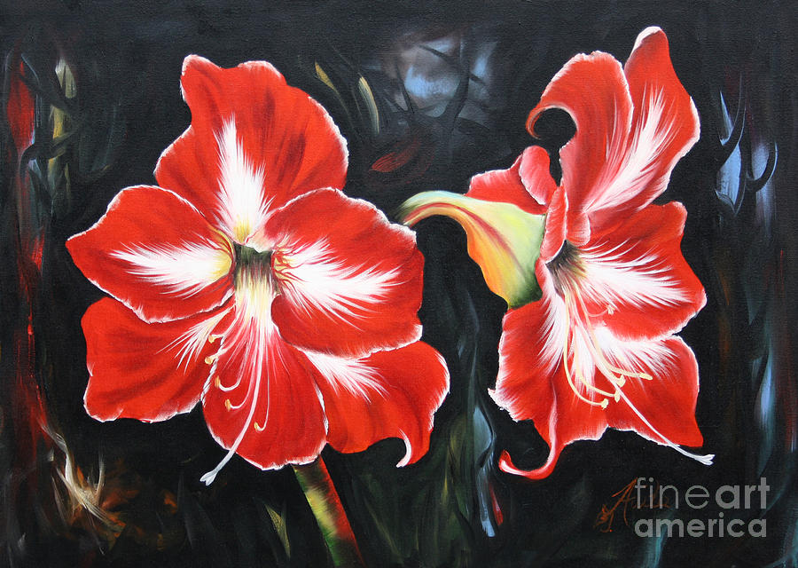 Big Red Amarillys Painting  - Big Red Amarillys Fine Art Print